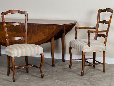 Set of Eight Country French Dining Chairs Upholstered Seats France