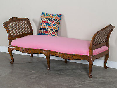 Antique French Louis XV Period Walnut Daybed Chaise Longue France circa 1760