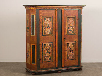 Antique German Hand Painted Dowry Cabinet Armoire from Germany circa 1800