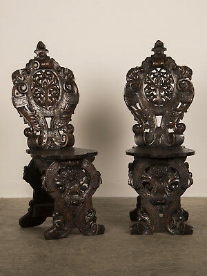 """Pair of Antique Italian """"Sgabello"""" Carved Oak Chairs Italy circa 1875"""