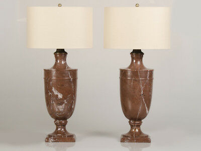 Pair Huge Italian Solid Marble Classical Urn Lamps Italy circa 1890