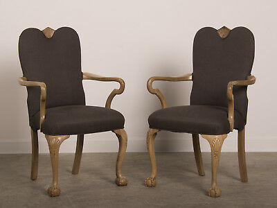 Antique English Chippendale Style Pair of Carved Walnut Armchairs circa 1900