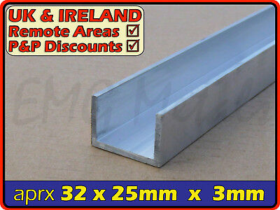 "Aluminium Channel (C U section, gutter, profile,edging,alloy) | 1.25"" x 1"""