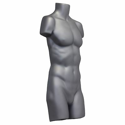 Silver Full Size Male Plastic Hanging Body Form Display Mannequin Dummy
