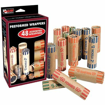 Coin Roll Wrappers Assorted for Coin Sorter Change Machine 48 Count Preformed