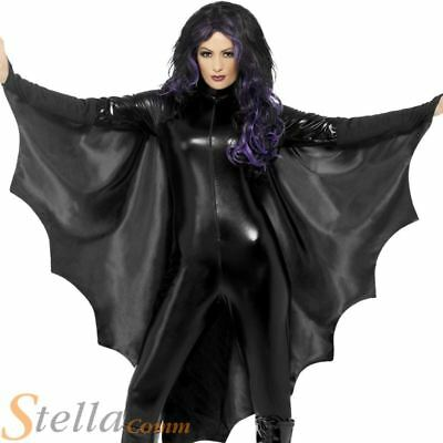 Adult Bat Wings Vampire Costume Halloween Black Cape Ladies Fancy Dress New
