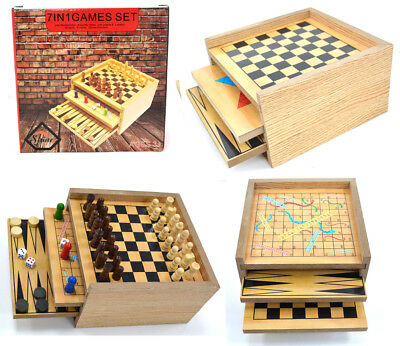 7 In 1 Wooden Game Set - Play Backgammon,draughts,chess,ludo,snake & Ladders Etc