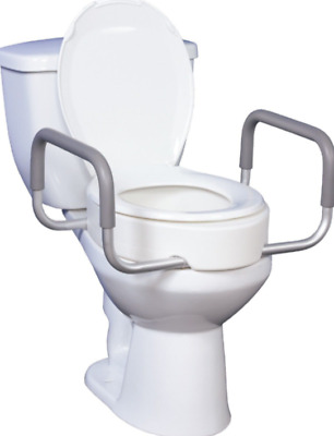 Drive Medical #12402 Premium Raised Toilet Seat with Removable Arms