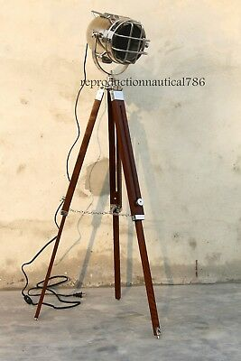 Vintage Nautical Industrial Chrome Floor Lamp With Wooden Tripod Home Decorative