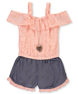 RMLA Girls' Cold Shoulder Romper with Necklace