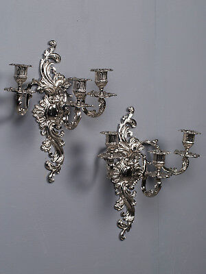 Pair Antique French Louis XV Style Three Arm Silver Nickel Sconces circa 1880