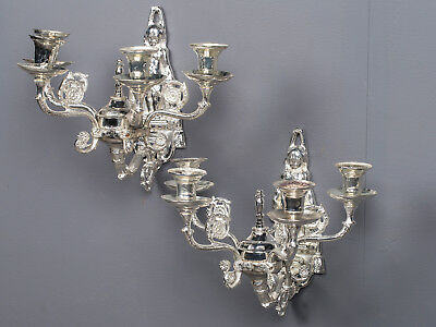 Pair Antique French Four Arm Silverplate Sconces, Régence Style circa 1890