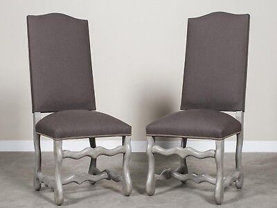 Pair Antique French Mouton Leg Painted Chairs circa 1900