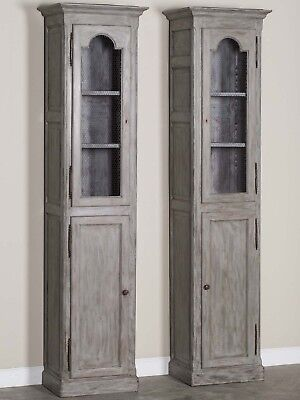 Pair Antique French Painted Oak Cabinets circa 1875