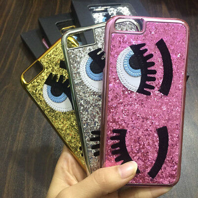 Chiara ferragni Bling Glitter 3D big eye eyelashes CoverCase for iPhone 6 7 8 X