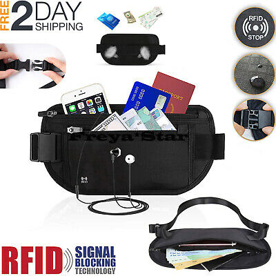 Travel Money Belt RFID Security Wallet Waist Pack Hidden Pocket Safe Waterproof