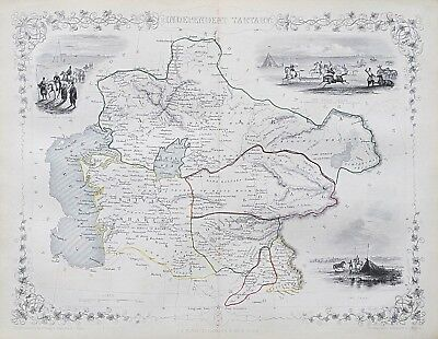 c1854 INDEPENDENT TARTARY ASIA Genuine Antique Map by Rapkin FREE SHIPPING