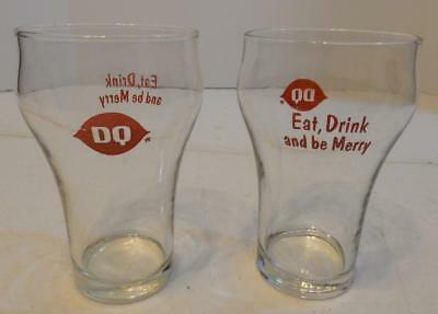 Vintage Set Of 2 Dairy Queen 12 Oz Soda Glasses Eat Drink And Be Merry