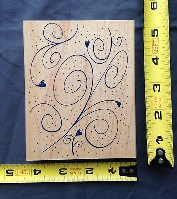 Hero Arts Raindrops and Swirls Background Wood Mounted Rubber Stamp  Hearts