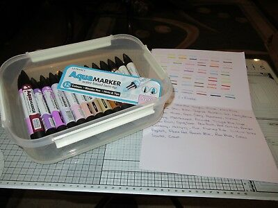38 Letraset Aquamarkers + 2 Blenders In Carry Box