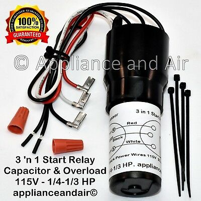 RCO210 DIXIE NARCO BEV MAX /& AMS Relay /& Overload 1//2HP Compressor 3 n 1 Start Capacitor // Free Ship!