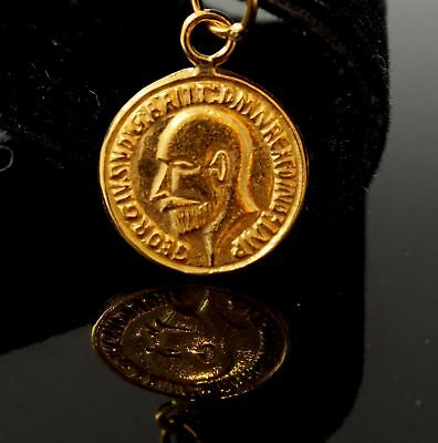 22k 22ct Solid Gold King George V Gold Sovereign Coin Dome Bezel pendant p1047 n