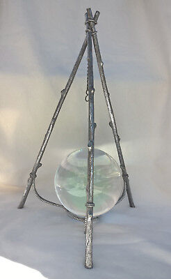 Antique Tri-footed Silver & Bronze Stand Branches Crystal Ball Witch Wicca
