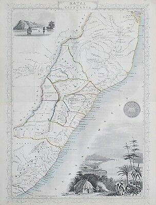 c1854 SOUTH AFRICA NATAL KAFFRARIA Genuine Antique Map by Rapkin