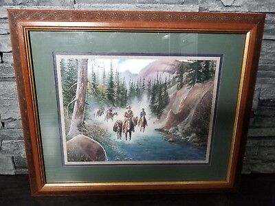 Vintage Homco Home Interior Cowboy Horse Western Wood Frame Picture