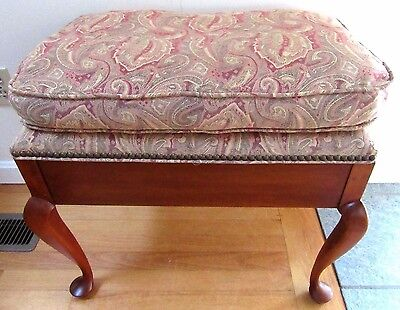 Pleasing Vintage Cherry Wood Vanity Piano Stool Bench Upholstered Squirreltailoven Fun Painted Chair Ideas Images Squirreltailovenorg