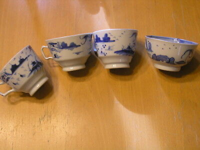 Group of 4 Variant Vintage Canton Blue and White Hand Painted Porcelain Tea Cups