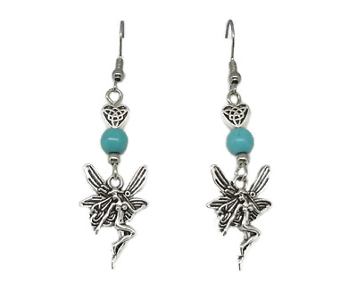Fairy Drop Earrings with Celtic Charm and Blue Bead - Fantasy Jewelry