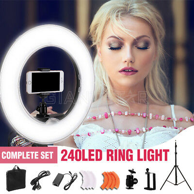 """19"""" 5500K Dimmable Diva 240 LED Ring Light Diffuser MIRROR Stand Make Up Studio"""