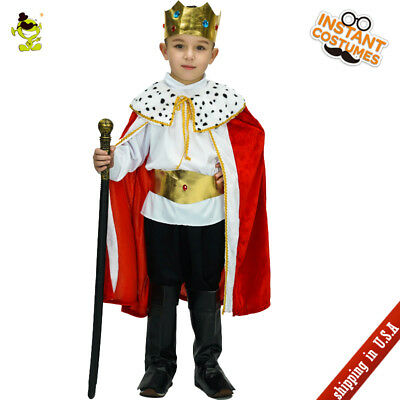 Boys Royal King Costumes with Cape Deluxe Prince Learder Cosplay Suits for Kids