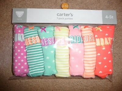 NEW Carters Toddler Girl 7 Pack Days of the Week Cotton Underwear Panties 4T-5T