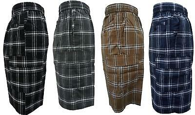 KARIZMA Mens Plaid Checker Cargo Shorts Elastic Waist