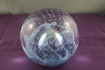 Beautiful Art Glass Purple Swirl Bubble Paperweight. 990gm