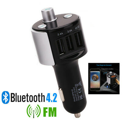 Bluetooth Triple Car USB Charger FM Transmitter Radio Power Adapter MP3 Player
