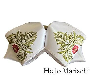 Hello Mariachi, Moño White, Green Flowers Mexican Bow Charro Bow Tie Embroidery