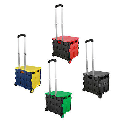 Portable Plastic Folding Craft Trolley Shopping Cart Storage Box Collapsible