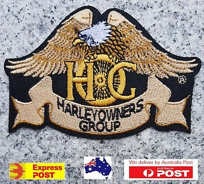 HOG Biker Motorcycle Vest Embroidered Patches Applique Badge Iron Sew On