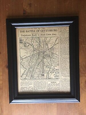 Framed Newspaper clipping celebrating 75 yrs ago today The Battle of Gettysburg