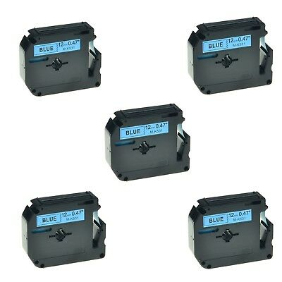 5PK MK531 M-K531 Black on Blue Label Tape for Brother P-Touch PT-70SR 12mm 1/2""