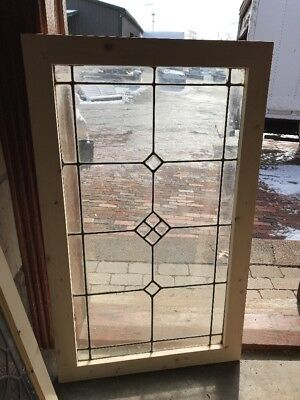 SG2224 antique beveled and leaded glass window 24 3/8 X40.25