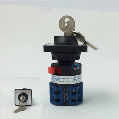 20a panel mount 3 position universal rotary cam changeover switch