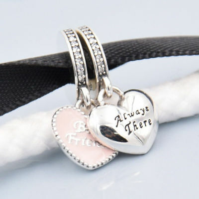 Best Friend Always there Duo Twin Heart Dangle Pendant/Charm 925 Silver+Gift Box