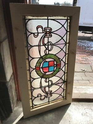 SG 2231 antique stained and textured glass transom window 19 x 34.5