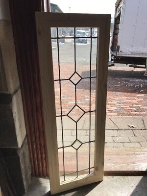 SG 2234 antique Stainglass beveled center transom window 14 x 40