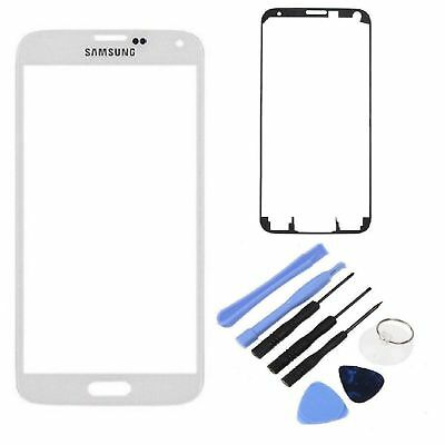 White Outer Screen Glass Digitizer Lens Samsung Galaxy S5 i9600 Adhesive + Tool