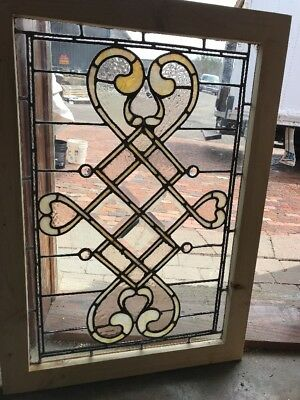SG 2237 antique stained jeweled textured glass window 24 x 34